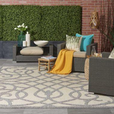 Cozumel Indoor/Outdoor Rugs in Cream/Grey CZM04