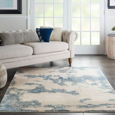 Etchings Rug in Ivory / Light Blue ETC03