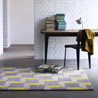 Geometric Grey & Zesty Yellow - Geo07