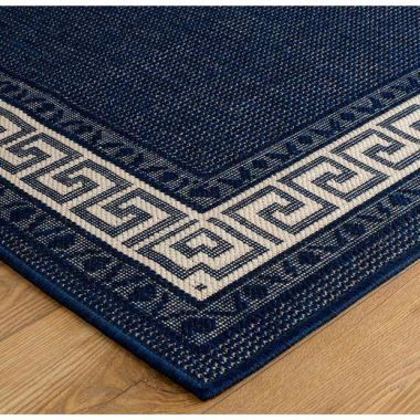 Greek Key Mat - Blue