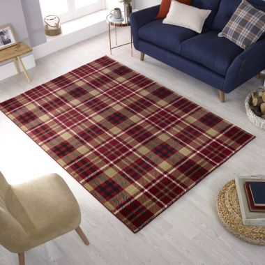 Cocktail Highland Red Tartan Rugs