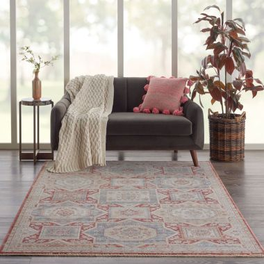 Homestead Rugs in Blue / Brick by Nourison HMS02