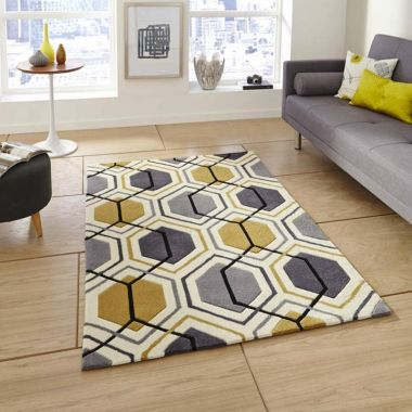Hong Kong Hexagon - HK7526 Grey Yellow