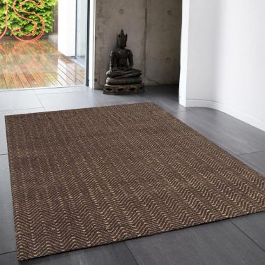 Ives Zigzag Flat Weave in Chocolate Brown
