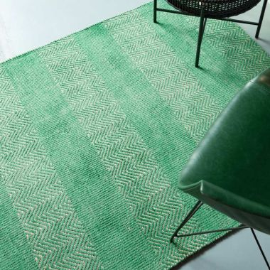 Ives Zigzag Flat Weave in Green