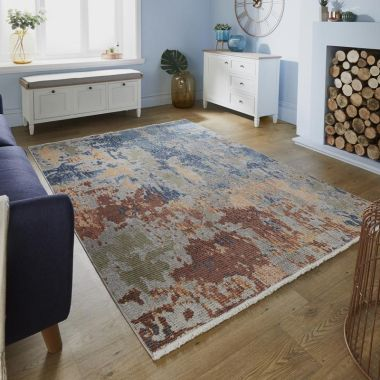 Pavillion Ivy Abstract Rugs in Blue / Multi