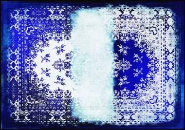 Mineheart - Kashan Remix Landscape Rug in Blue & White