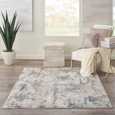 Kathy Ireland Royal Terrace Rugs in White / Blue KI42