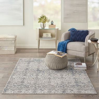 Kathy Ireland Royal Terrace Rugs in Beige / Blue KI43