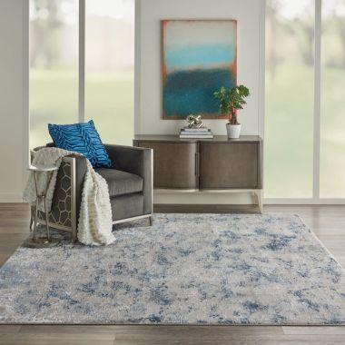 Kathy Ireland Royal Terrace Rugs in Grey / Blue KI45
