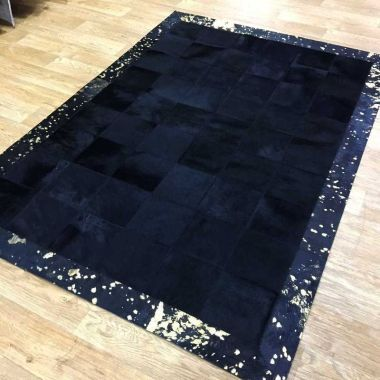Patchwork Leather Cubed Cowhide - Black with Gold Acid Border