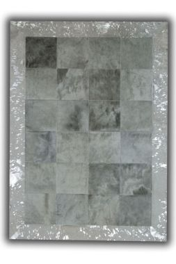 Patchwork Cubed Cowhide - Light Grey with Acid Silver Border
