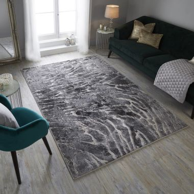Eris Lyra Abstract Rugs in Silver / Grey