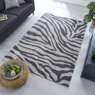 Wilder Zebra Chenille - Charcoal/Grey