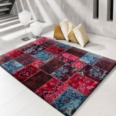 Modern Persian Patchwork Red Blue