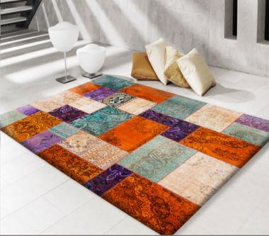 Modern Persian Patchwork Orange & Cyan