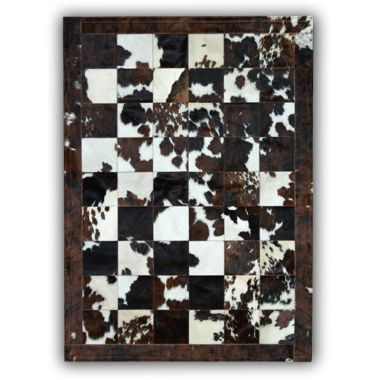 Patchwork Leather Cubed Cowhide - Normandy Cow Natural