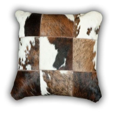 Leather Patchwork Normandy Cow Cushion