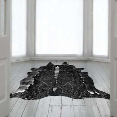Mineheart - Persian Faux Cowhide Rug in Black