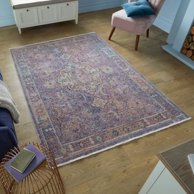Pavillion Stirling Traditional Rugs in Mauve Multi