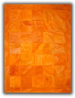 Patchwork Leather Cubed Cowhide - Plain Orange with Border