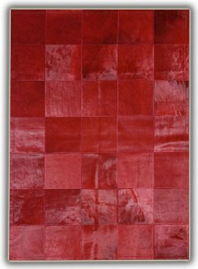 Patchwork Leather Cubed Cowhide - Plain Red with Border