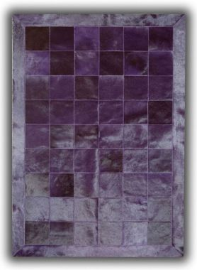 Patchwork Leather Cubed Cowhide - Plain Violet with Border