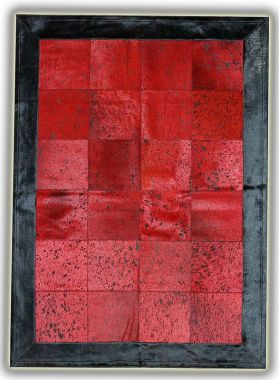 Patchwork Leather Cubed Cowhide - Red Acid with Black Border