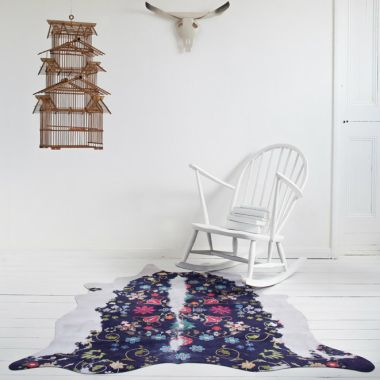 Mineheart - Gypsy Faux Cowhide Rug in Navy