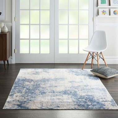 Silky Textures Rug in Ivory / Blue SLY01