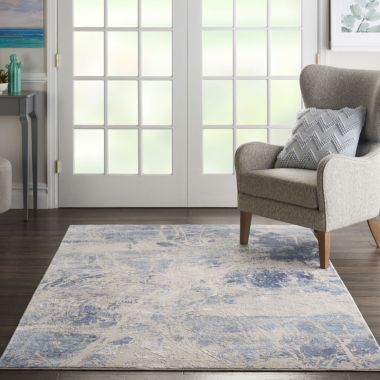 Silky Textures Rug in Blue / Cream SLY02