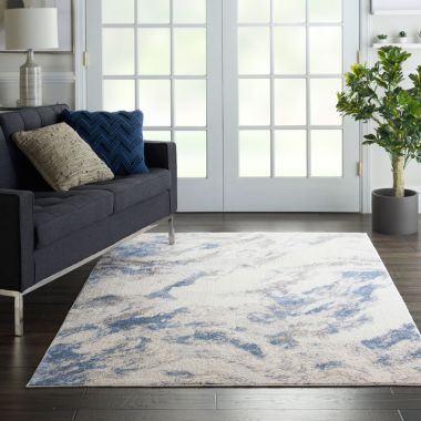 Silky Textures Rug in Blue / Ivory SLY03