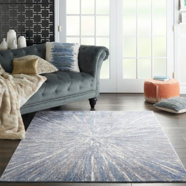 Silky Textures Rug in Blue / Grey SLY05