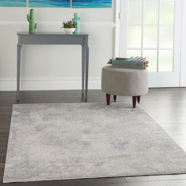 Silky Textures Rug in Ivory / Grey SLY06
