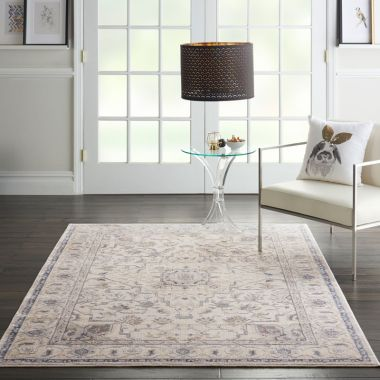 Silky Textures Rug in Ivory / Grey SLY08