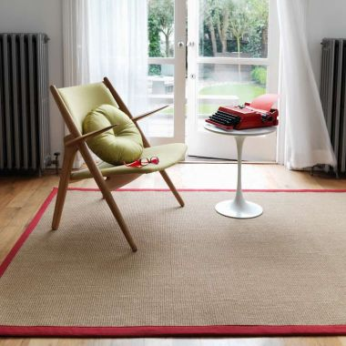 Sisal - Linen With Red Border