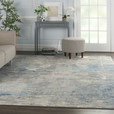 Solace Rugs in Ivory / Grey / Blue by Nourison SLA01