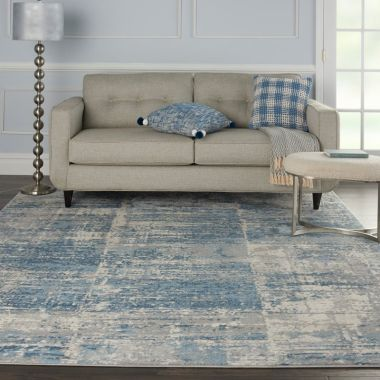 Solace Rugs in Ivory / Grey / Blue by Nourison SLA02