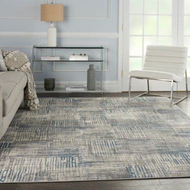 Solace Rugs in Ivory / Grey / Blue by Nourison SLA03