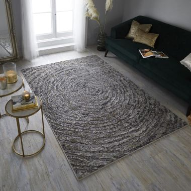 Eris Ursa Spiral Rugs in Gold / Grey