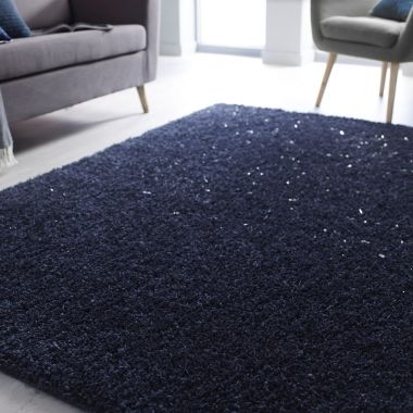 Veloce Shaggy Sparkle Rugs in Blue
