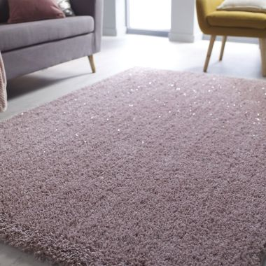 Veloce Shaggy Sparkle Rugs in Pink