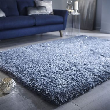 Veloce Shaggy Sparkle Rugs in Duck Egg