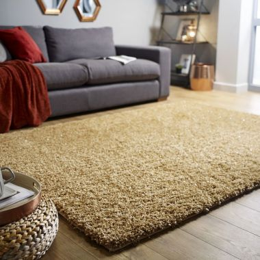 Veloce Shaggy Sparkle Rugs in Gold