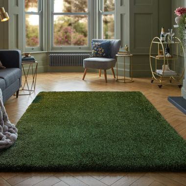 Veloce Shaggy Sparkle Rugs in Green
