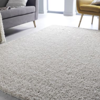 Veloce Shaggy Sparkle Rugs in Ivory