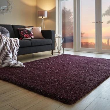 Veloce Shaggy Sparkle Rugs in Purple