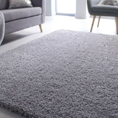 Veloce Shaggy Sparkle Rugs in Silver