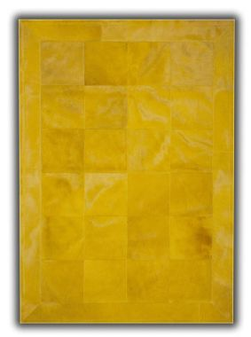 Patchwork Leather Cubed Cowhide - Plain Yellow with Border