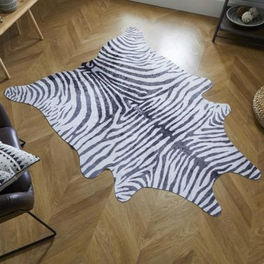 Zebra Print Faux Animal Rugs in Black / White